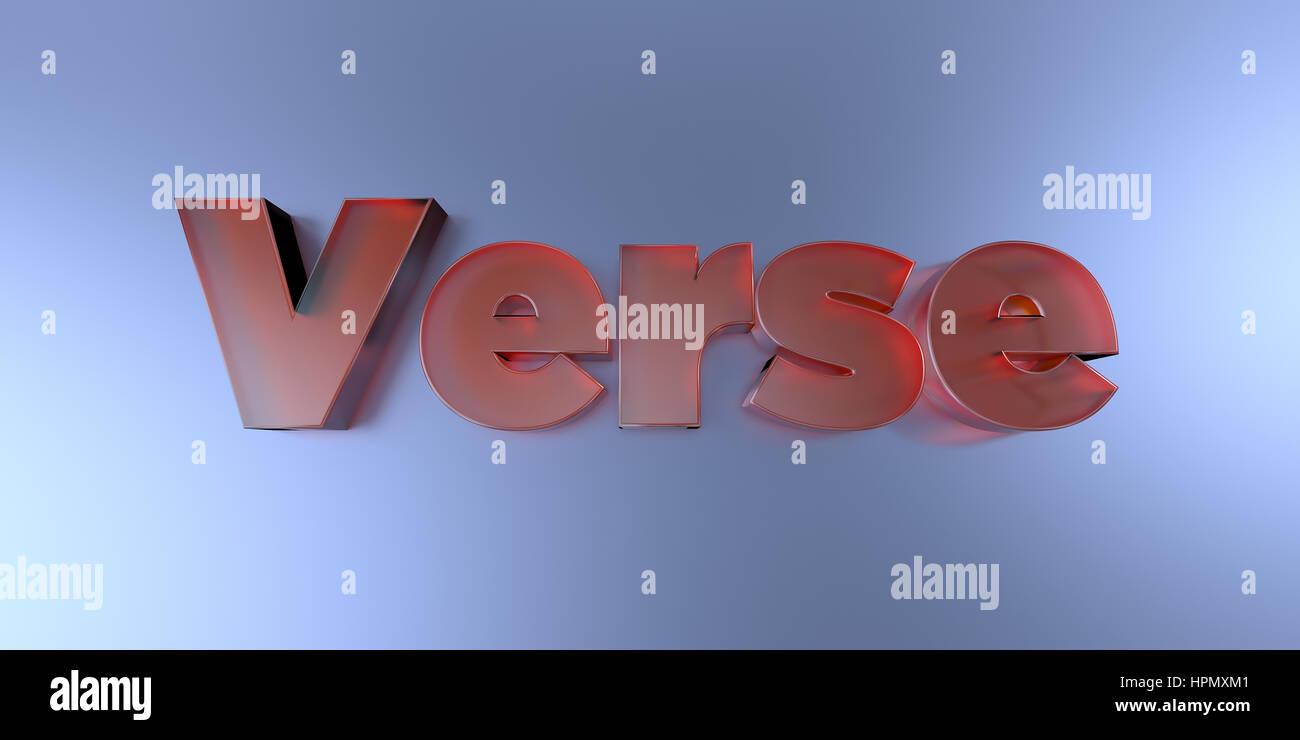 Verset - texte en verre coloré sur fond vibrant rendu 3D - image image. Banque D'Images