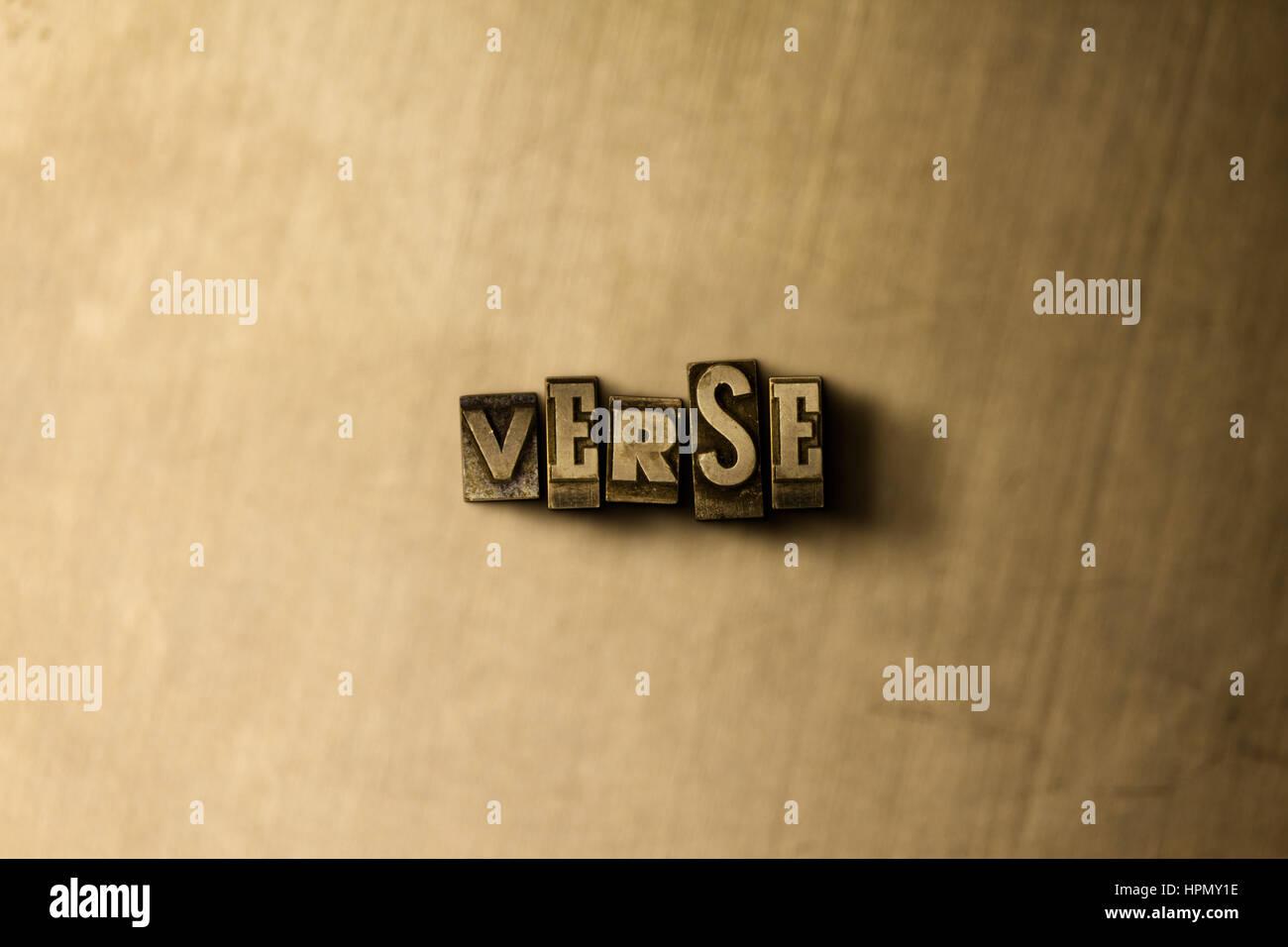 Verset - close-up de grungy vintage imprimé sur toile métallique mot. Illustration libres de droits. Peut être utilisé pour des bannières publicitaires en ligne et courrier direct Banque D'Images