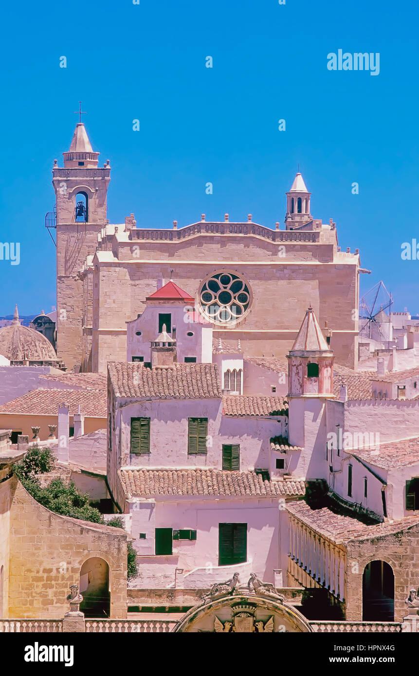Vieille ville et la cathédrale, Ciutadella, Minorque, Iles Baléares, Espagne, Europe Photo Stock