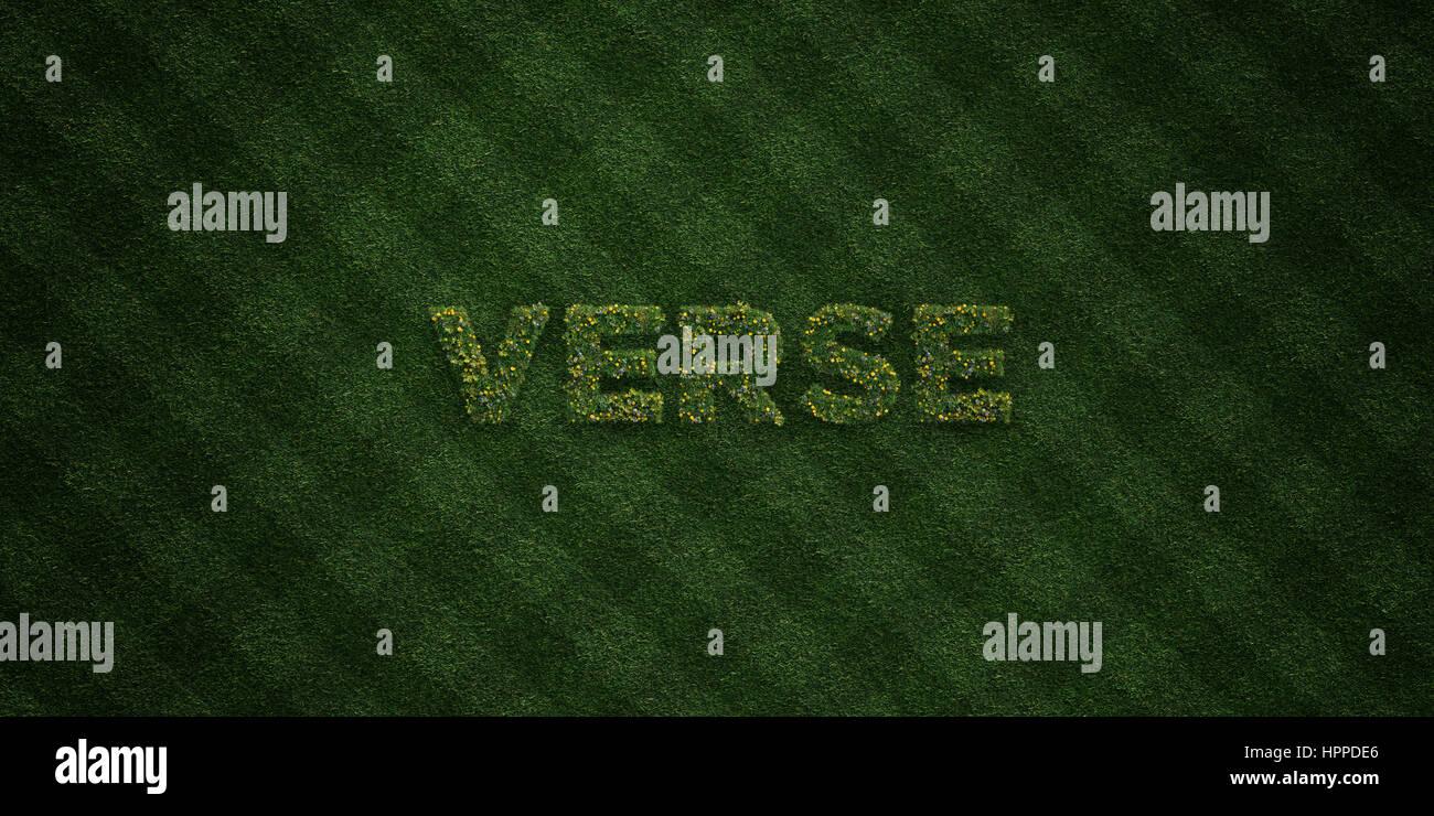 Verset - lettres d'herbe avec des fleurs et les pissenlits en rendu 3D - image image. Peut être utilisé pour des bannières publicitaires en ligne et de publipostage. Banque D'Images