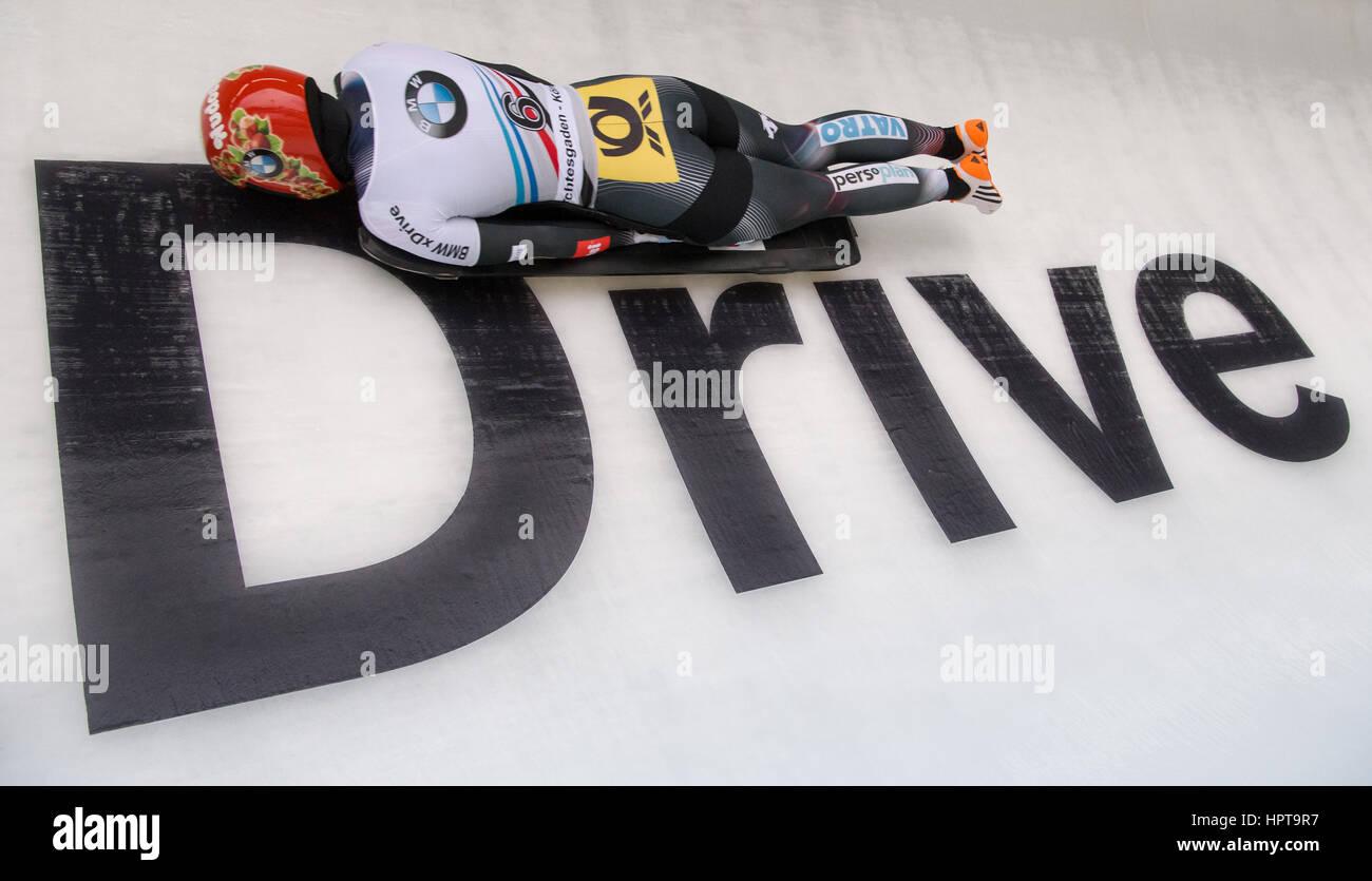 Königssee, Allemagne. Feb 24, 2017. Jacqueline Loelling athlète allemand en action à l'IBSF Bobsleigh et skeleton Banque D'Images