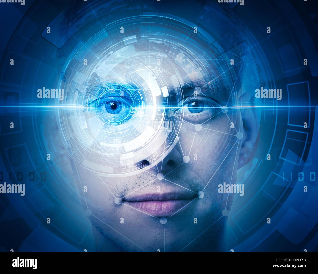 Visage de haute technologie scan Photo Stock