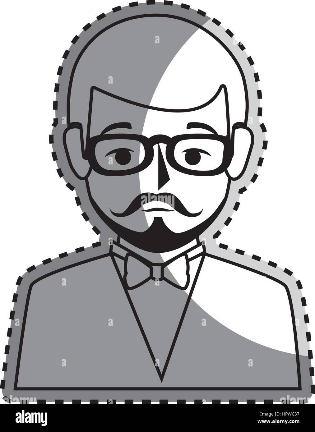 Sticker silhouette moitié du corps homme style formel avec moustache photo stock