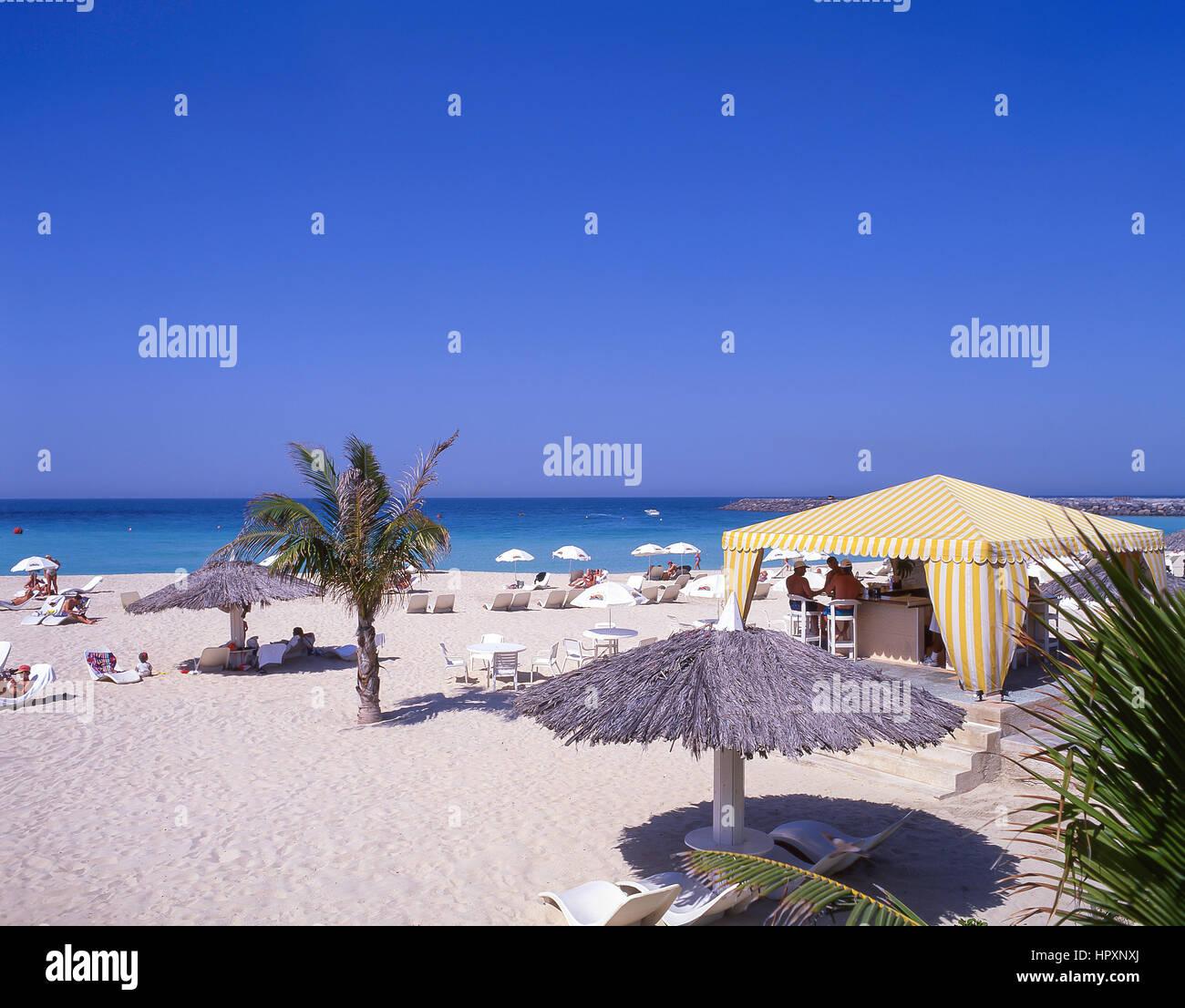 La plage de Jumeirah, Jumeirah, Dubai, Émirats Arabes Unis Photo Stock