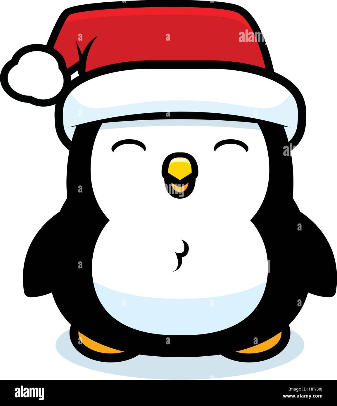 Un Dessin Anime Bebe Pingouin Avec Un Chapeau De Noel Image Vectorielle Stock Alamy
