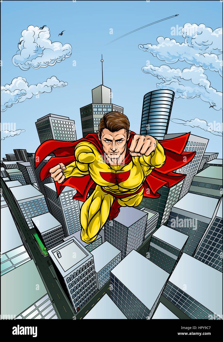 vente au royaume uni en gros Clairance de 60% Caractère super-héros avec une cape dans un dessin pop art ...