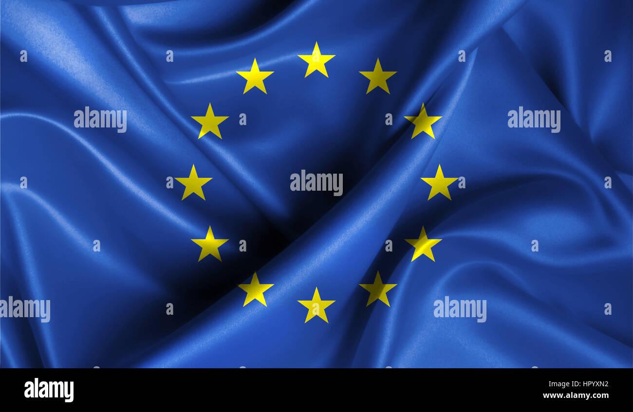 Drapeau de l'Union européenne dans l'ancienne rétro arrière-effet, Close up Photo Stock