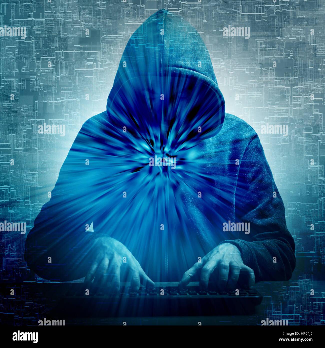 Hacker en action, la cybercriminalité concept Photo Stock
