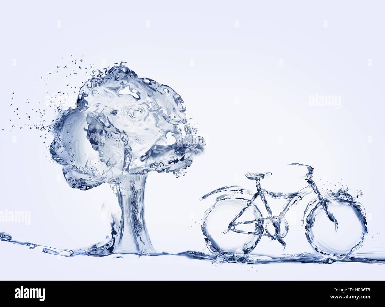 Un vélo fait d'eau pour représenter l'utilisation de moyens de transport garé en face de l'arbre. Banque D'Images