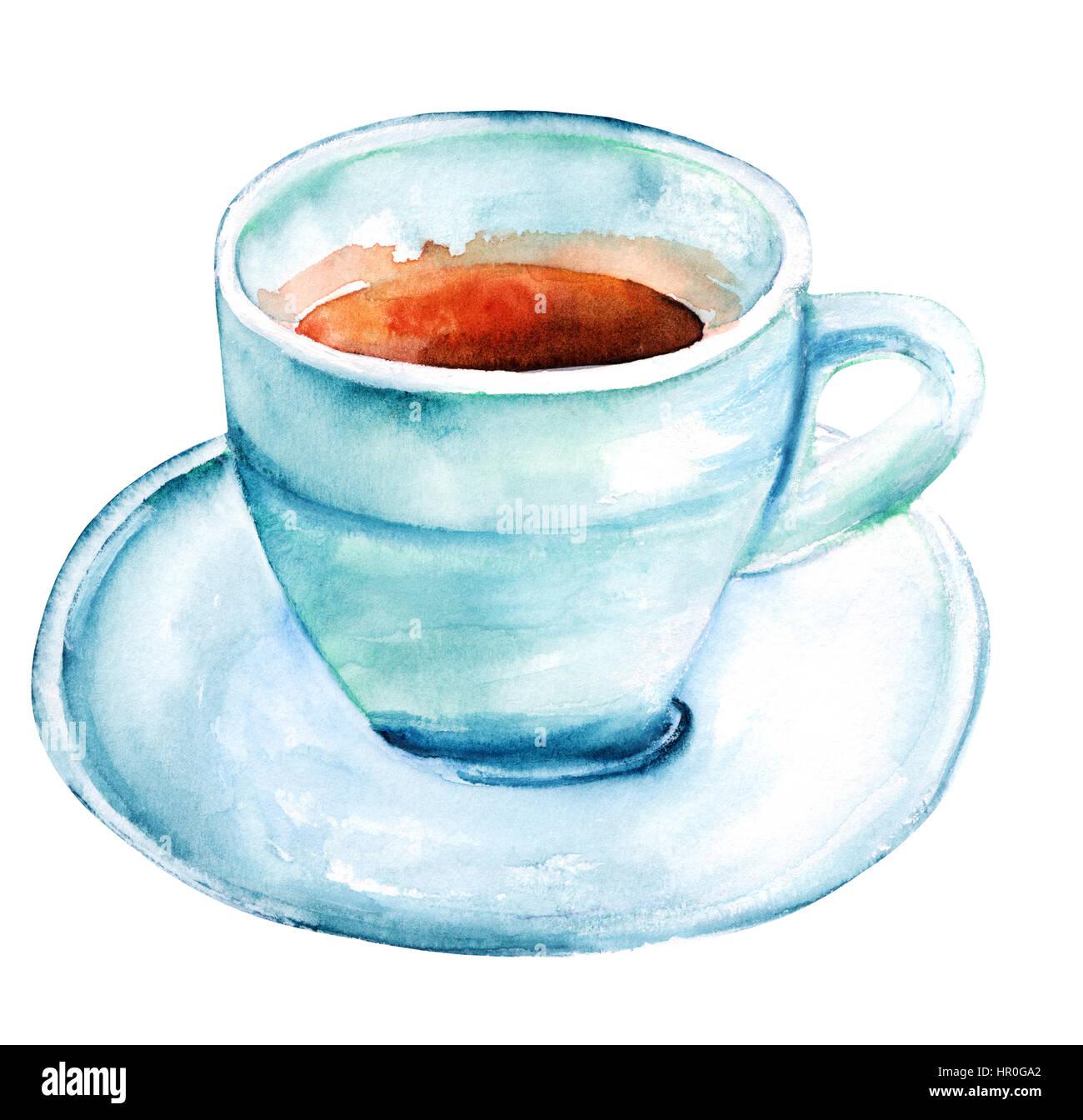 Une aquarelle dessin d 39 une tasse de caf dans la r gion de teal hues isolated on white banque d - Tasse de cafe dessin ...