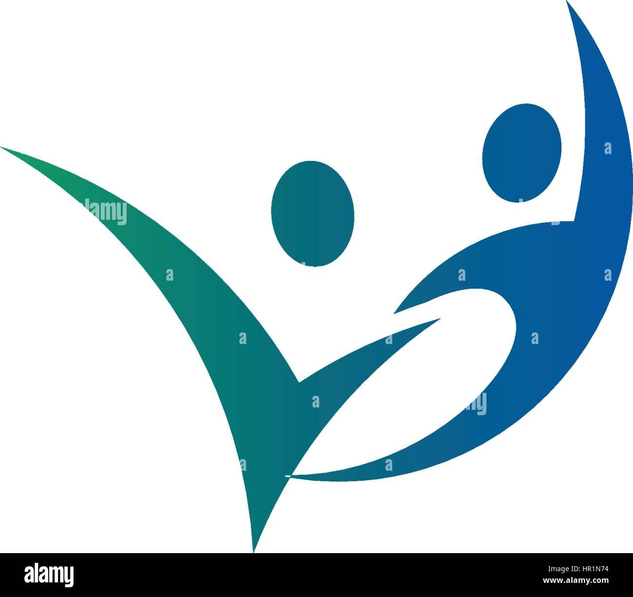r u00e9sum u00e9 isol u00e9s couleur bleu et vert  deux personnes se tenant la main logo sur fond blanc vector