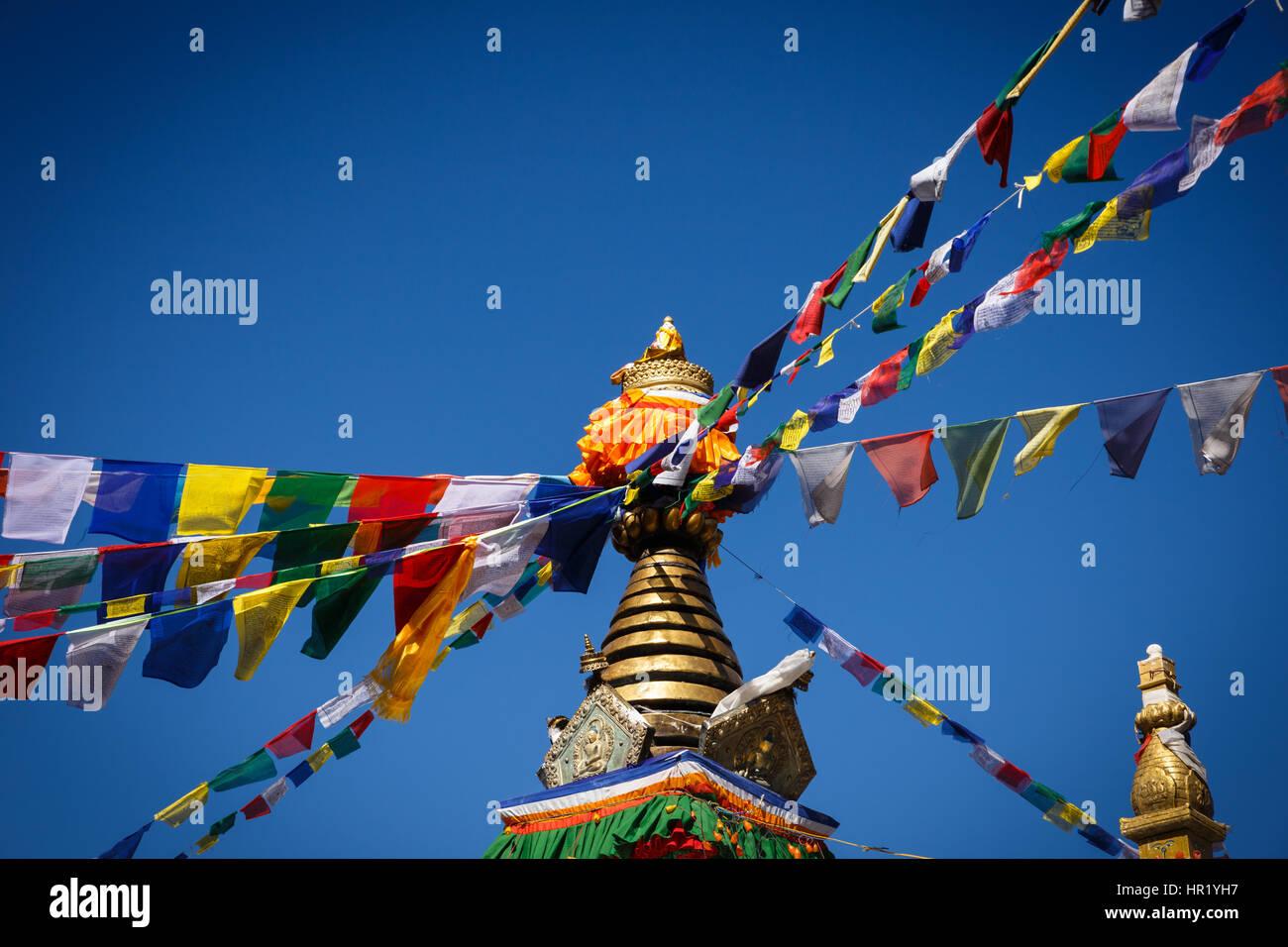 Stupa à Thrangu Tashi Yangtse Namo Buddha, Monastère, Népal Photo Stock