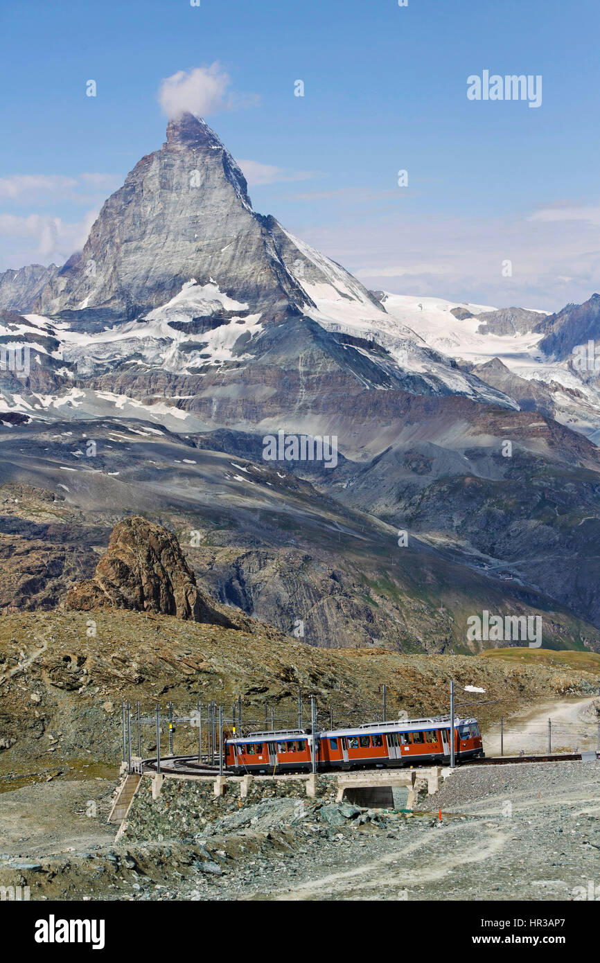 En face de fer Gornergrat Matterhorn, Monte Cervino, Valais, Suisse Banque D'Images
