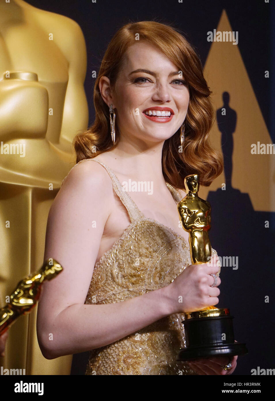 Los Angeles, USA. 26 Février, 2017. Emma Stone 89e Academy Awards (Oscars), salle de presse au Dolby Theatre Photo Stock