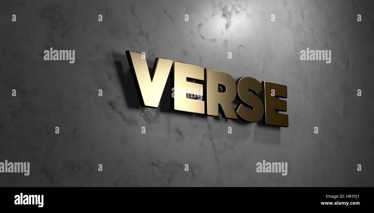 Verset - signe d'or monté sur le mur de marbre brillant - rendu 3D illustration libres de droits. Cette image peut être utilisée pour un site web en ligne bannière publicitaire Banque D'Images
