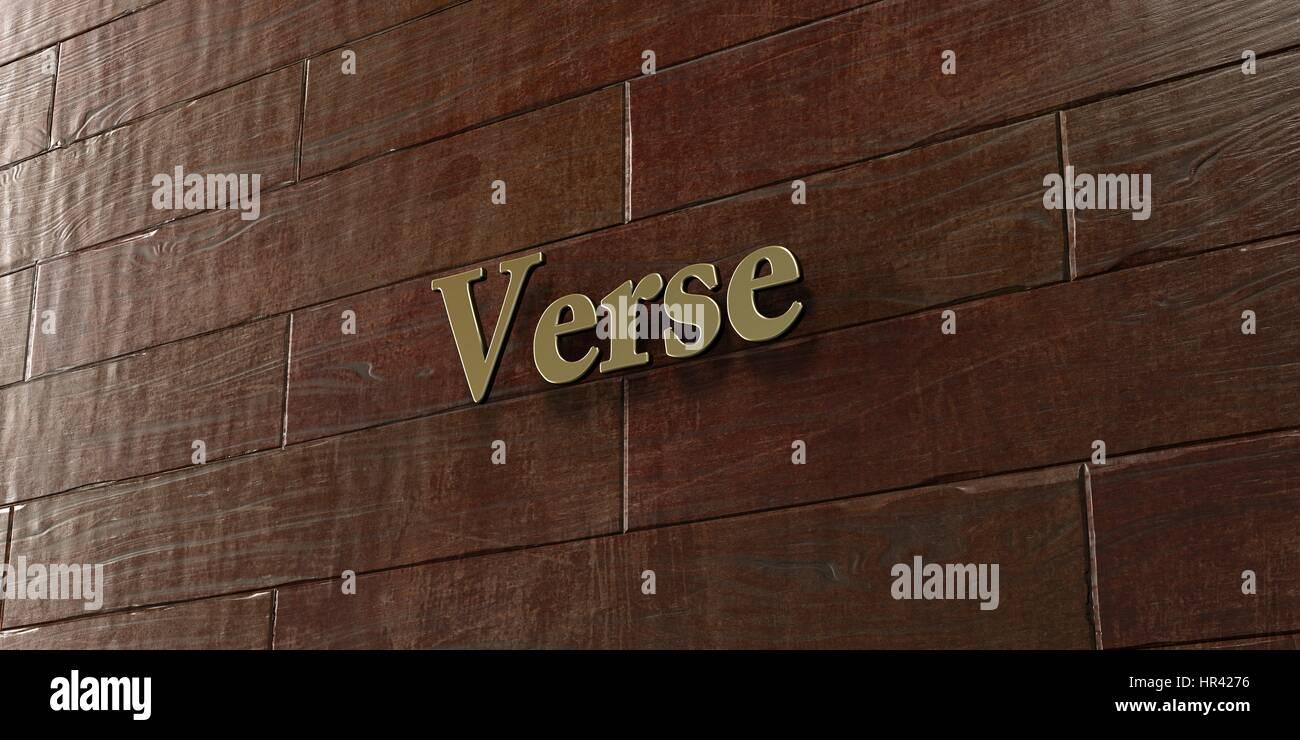 Verset - plaque de bronze monté sur mur en bois d'érable en rendu 3D - image de la photo. Cette image peut être utilisée pour un site web en ligne ou annonce de bannière Banque D'Images