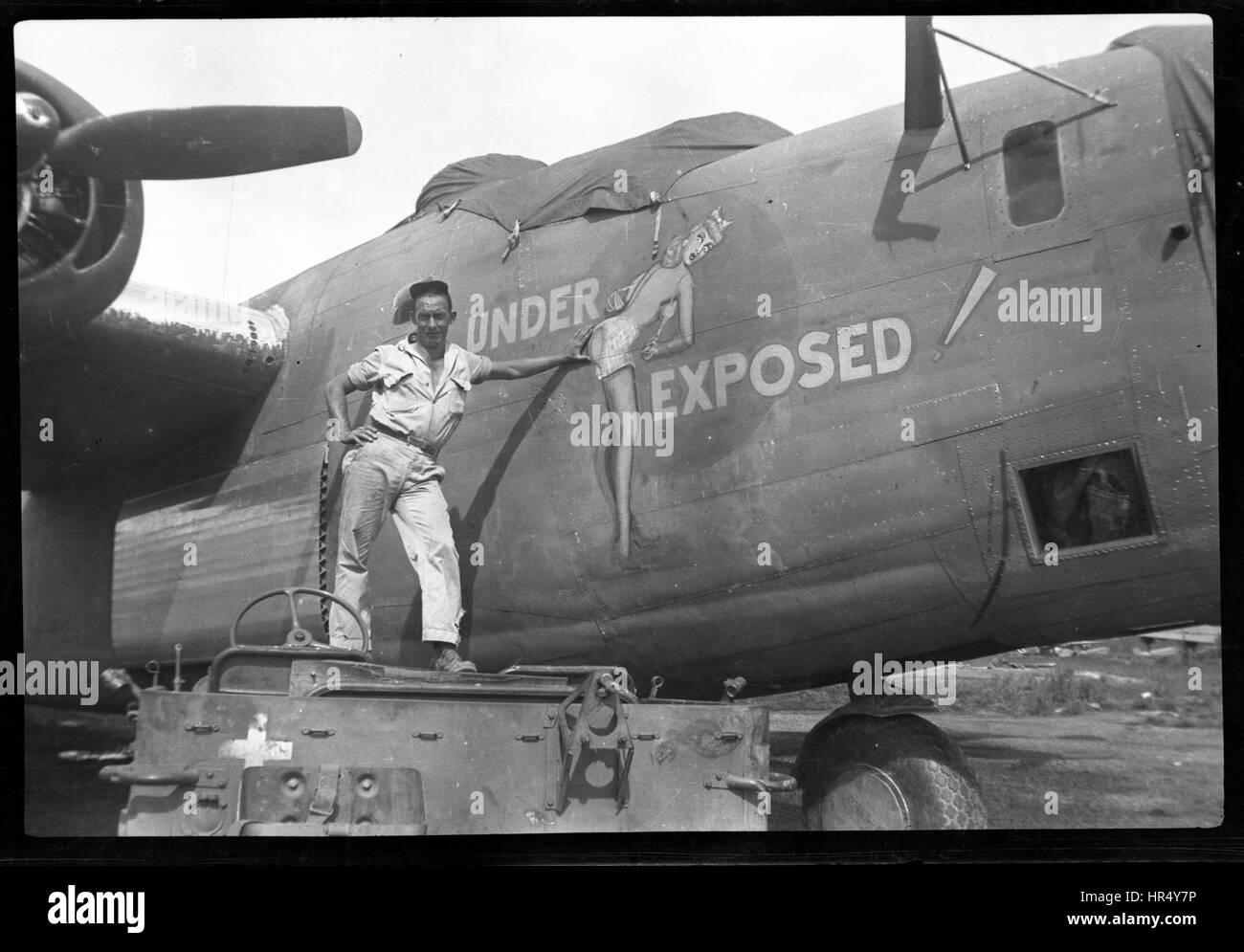 B-24J-5-CO libérateur. Converti en un F-7 de reconnaissance photographique un libérateur. 5e Air Force, Photo Stock