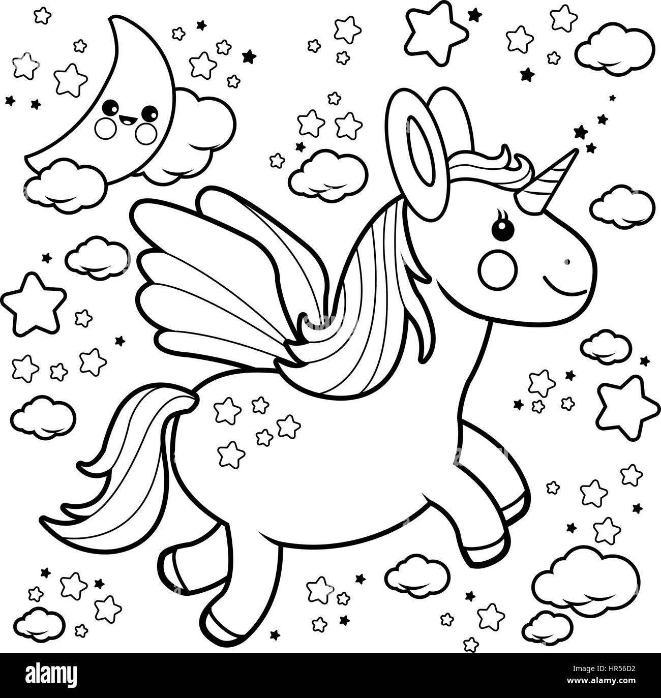 Coloriage Licorne Nuage.Vector Illustration D Un Unicorn Mignon Voler Dans Le Ciel De Nuit