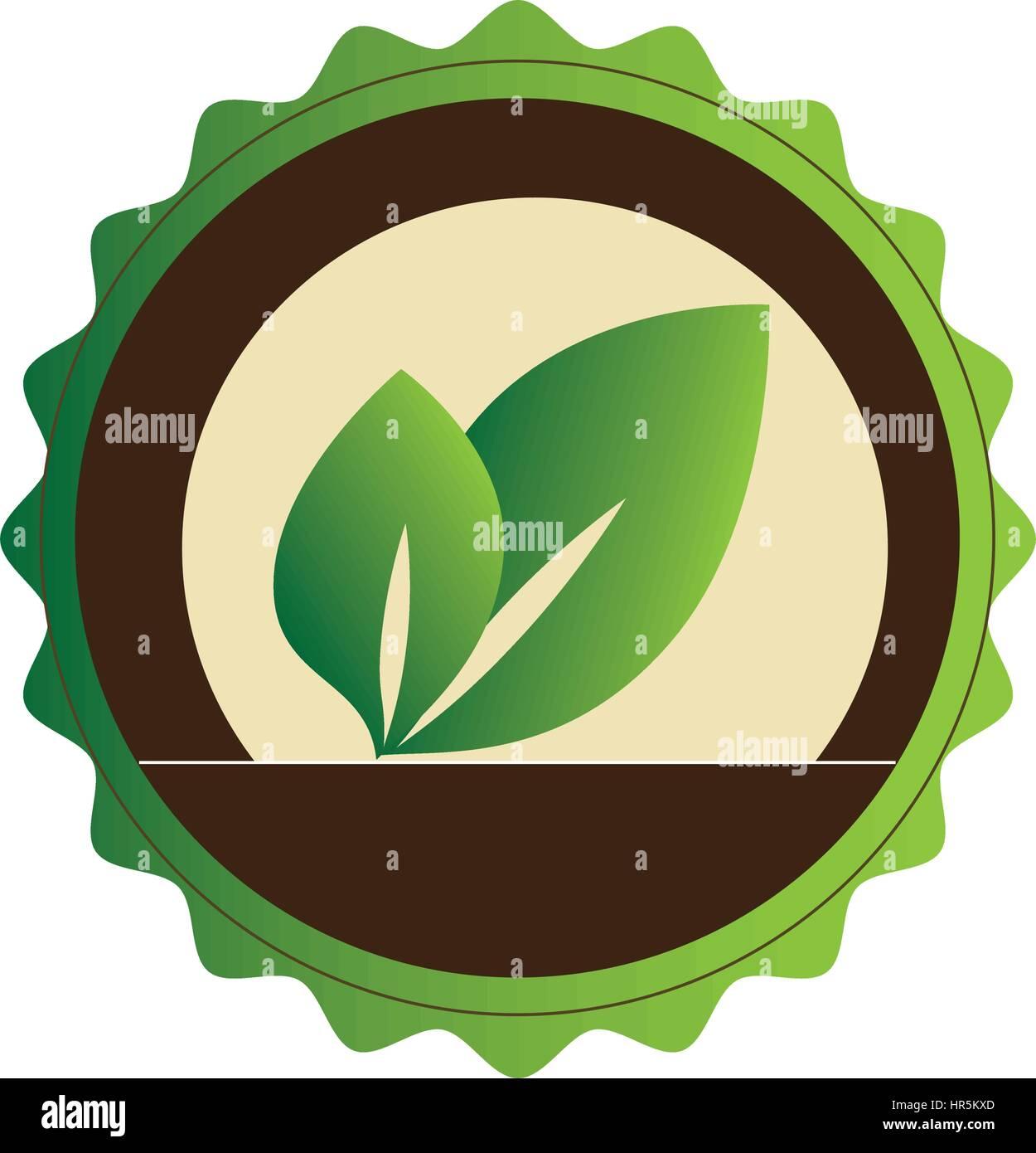 Emblème circulaire décoratifs avec des feuilles Illustration de Vecteur
