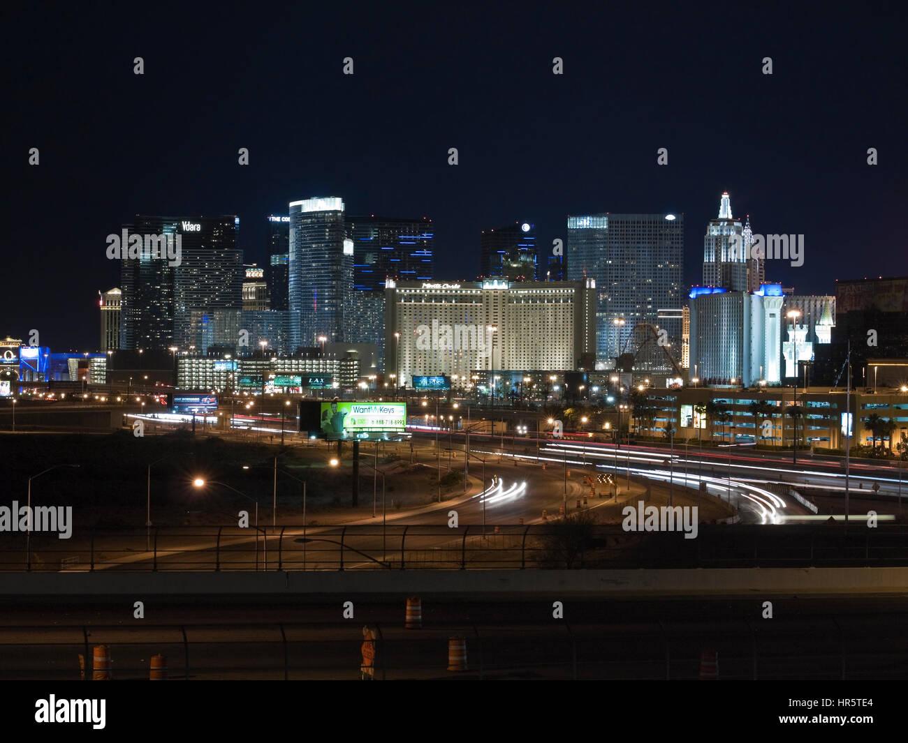 Voir l'éditorial du Strip de Las Vegas dans le sud du Nevada. Photo Stock
