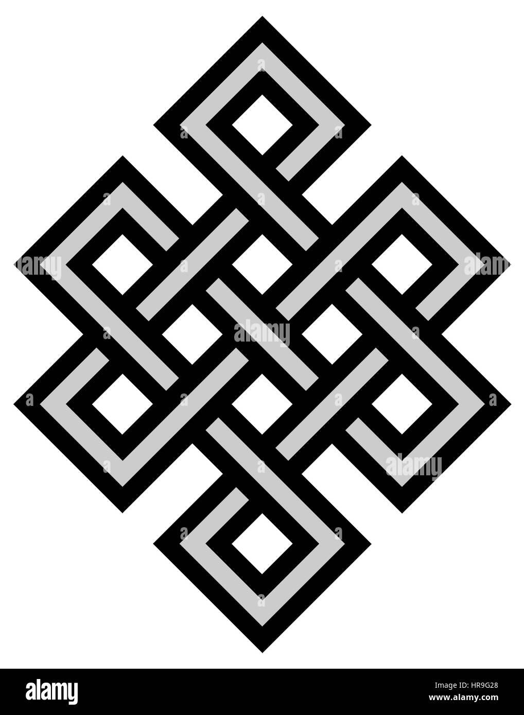 Léternité Tibétain Noeud Mystique Antique Symbole Religieux Banque