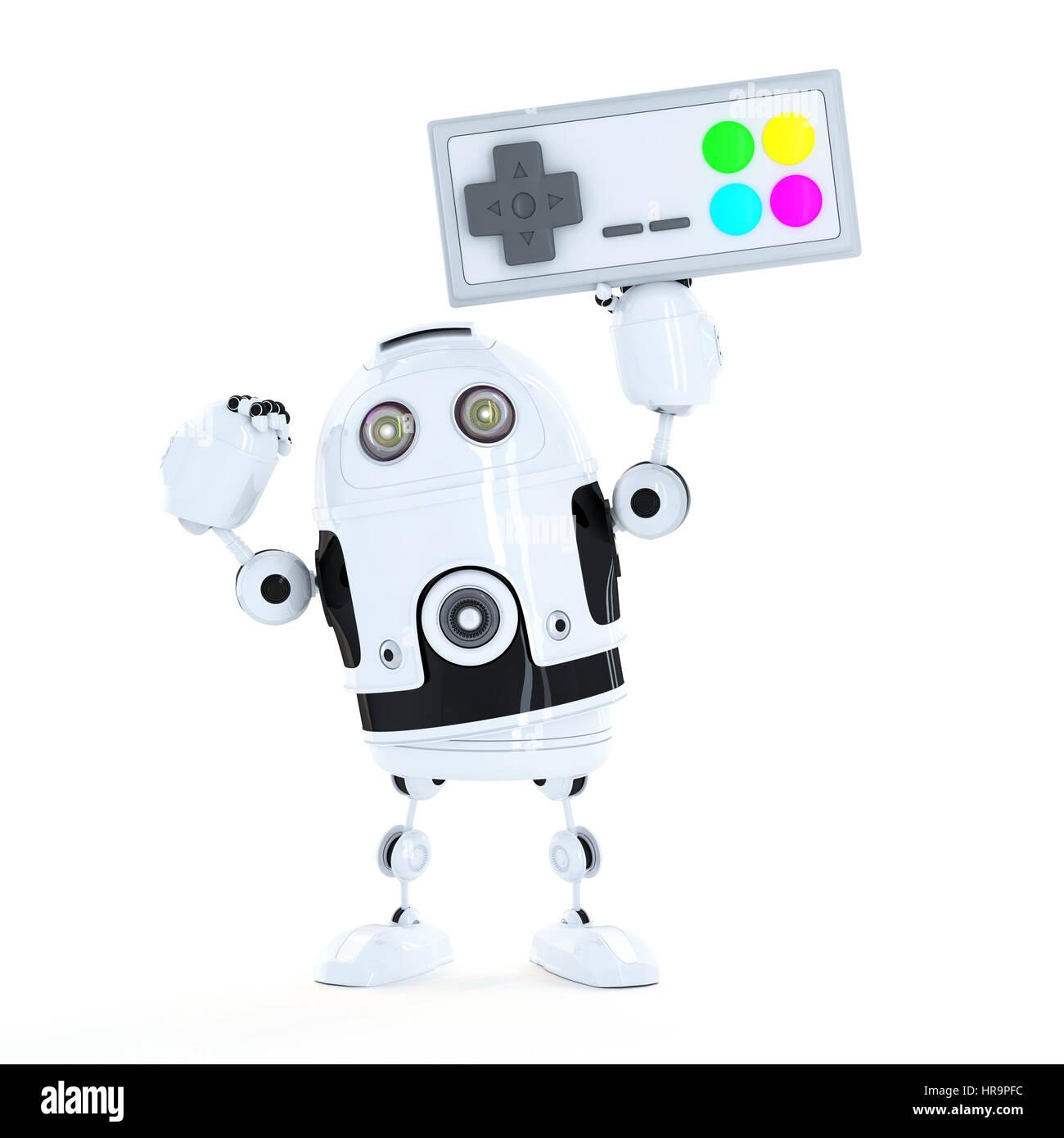 Robot Android avec une manette de jeu sans fil. Isolated on white Banque D'Images