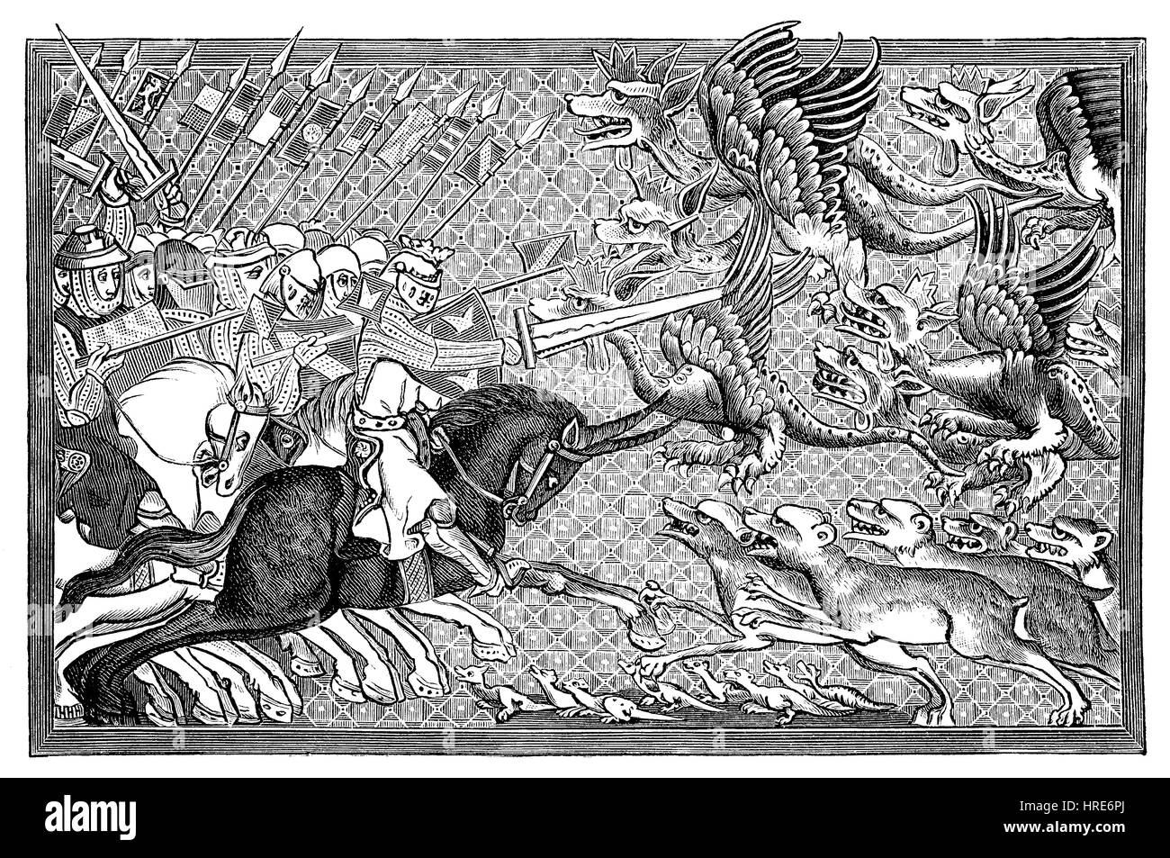 Alexander dans la bataille avec des dragons et autres animaux fantastiques, des miniatures dans un manuscrit de Photo Stock