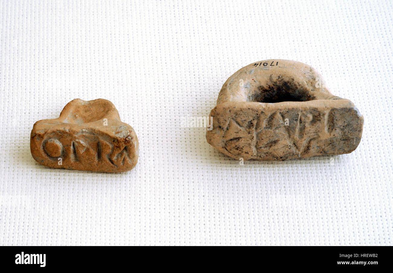 La Rome antique. Timbre en céramique-joint. Musée Archéologique National. Tarragone. L'Espagne. Banque D'Images