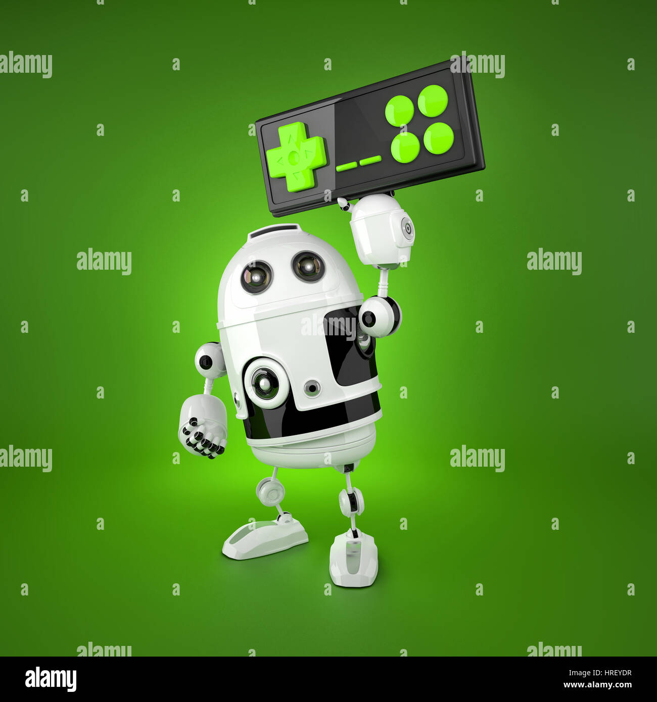 Robot Android avec une manette sans fil. Isolated on white Banque D'Images