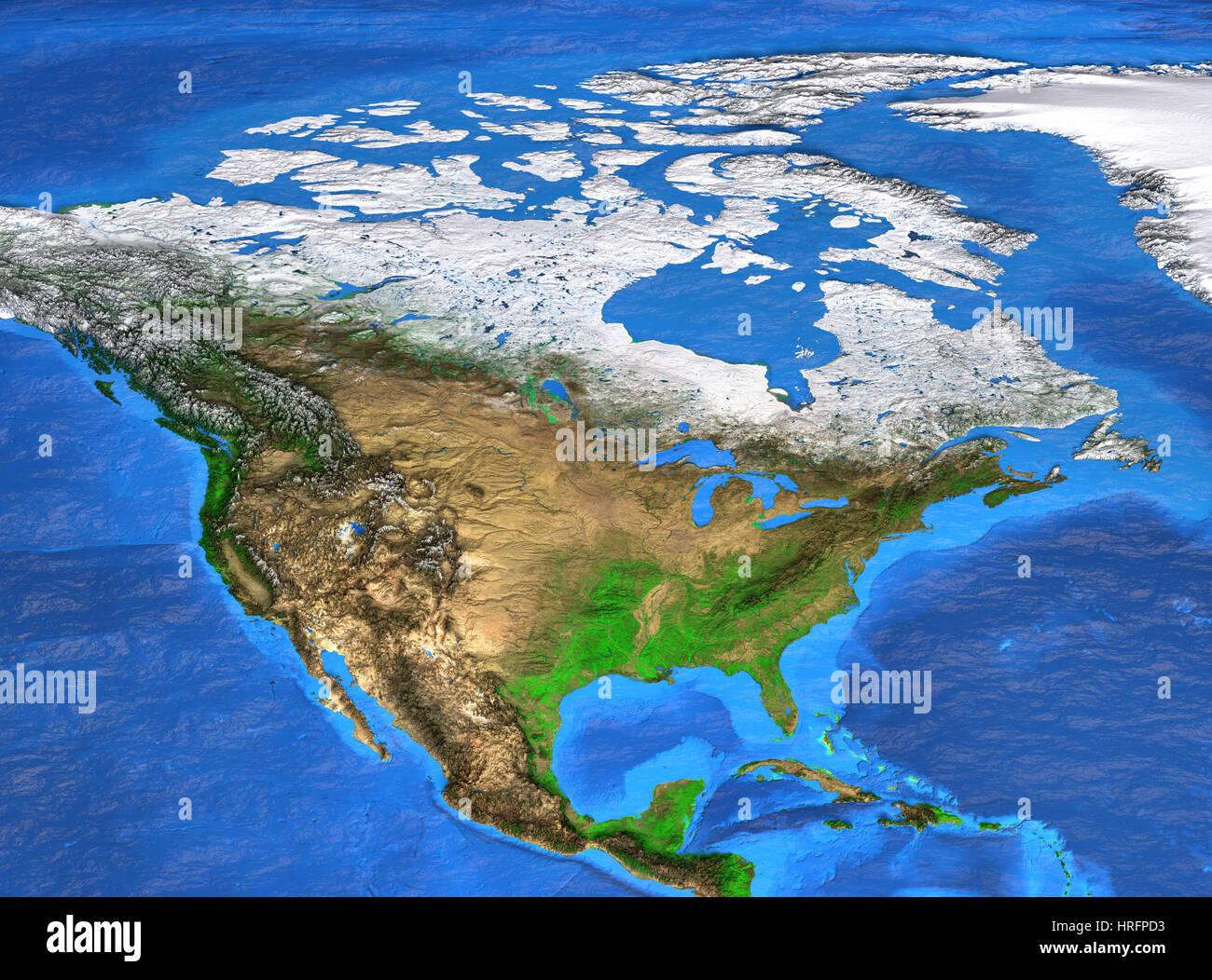 Carte Relief Amerique Du Nord.Vue Detaillee De La Terre Et De Son Relief La Carte De L