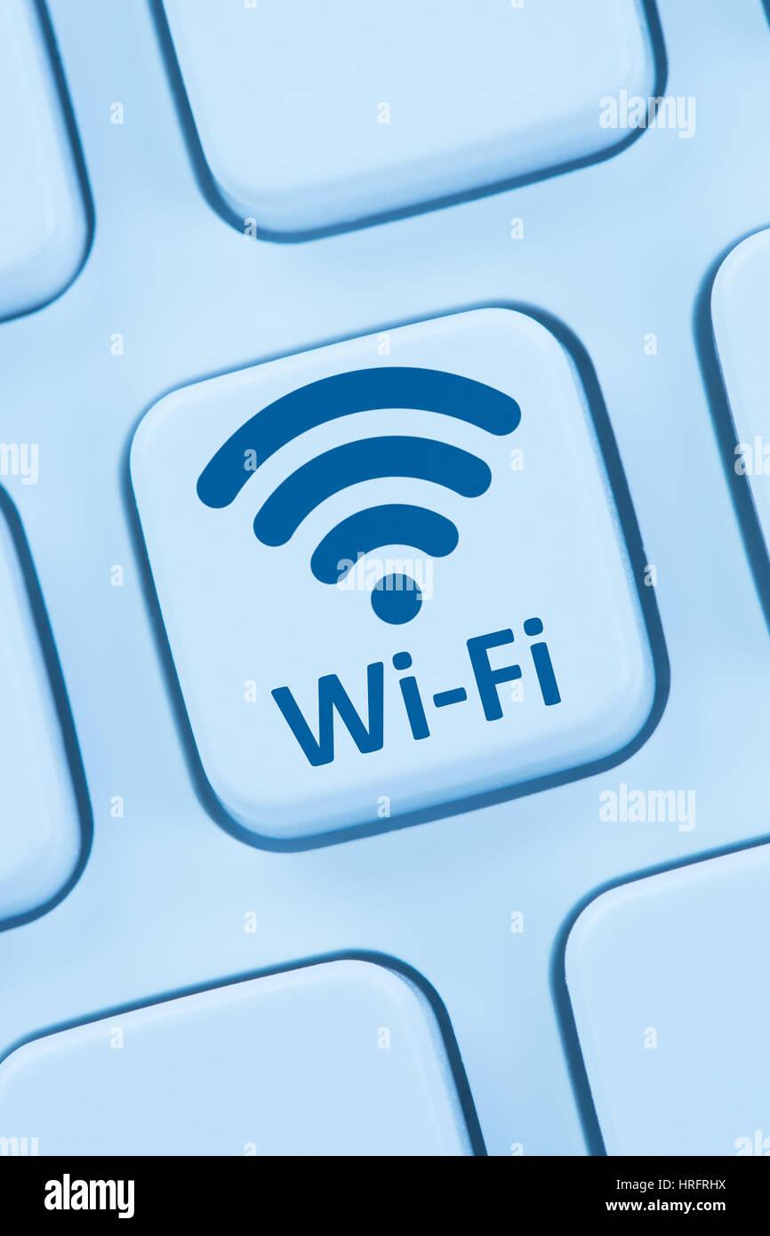 Wifi hotspot wifi internet connection ordinateur clavier web en ligne Photo Stock