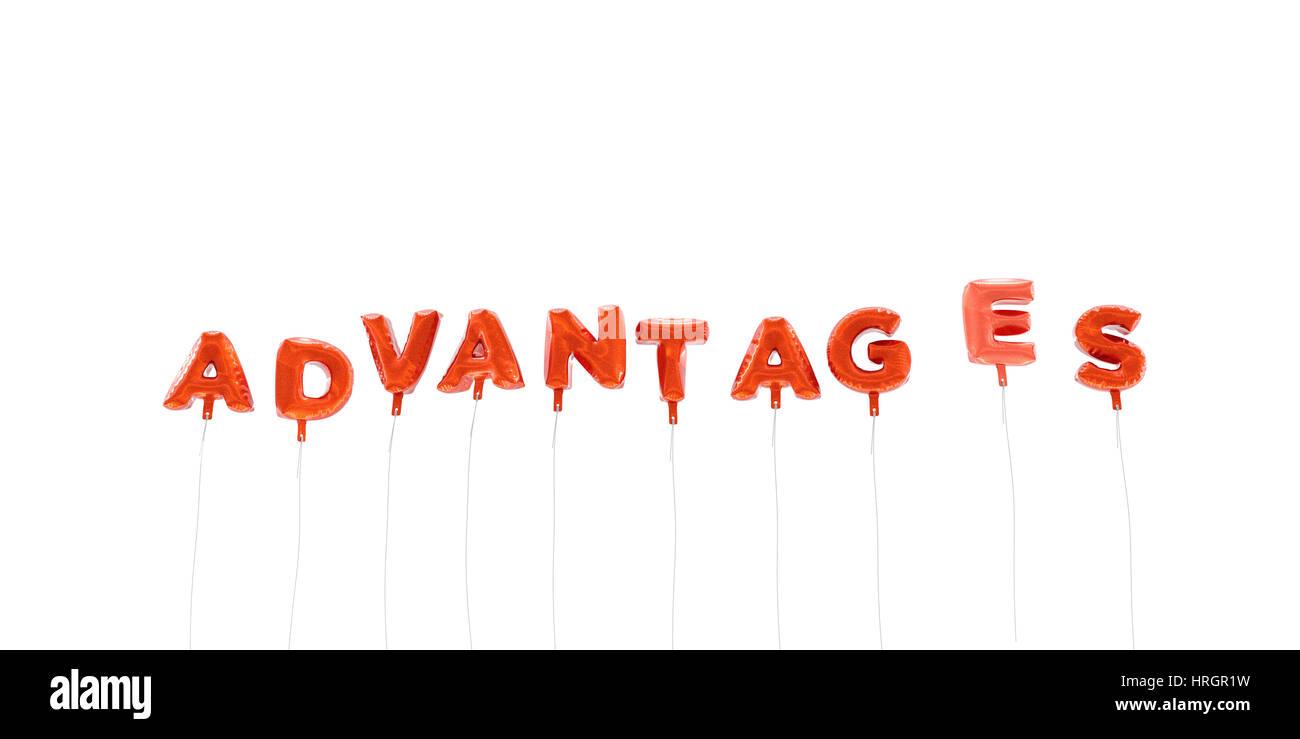 Avantages - mot de ballons aluminium - 3D rendu. Peut être utilisé pour une bannière en ligne ou Photo Stock