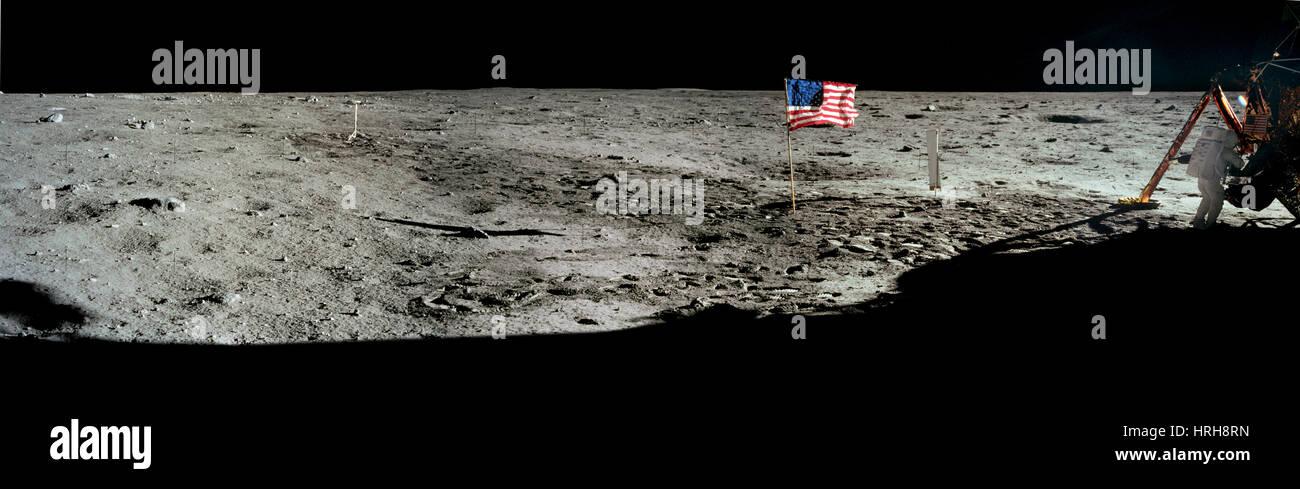 Neil Armstrong sur la lune Banque D'Images