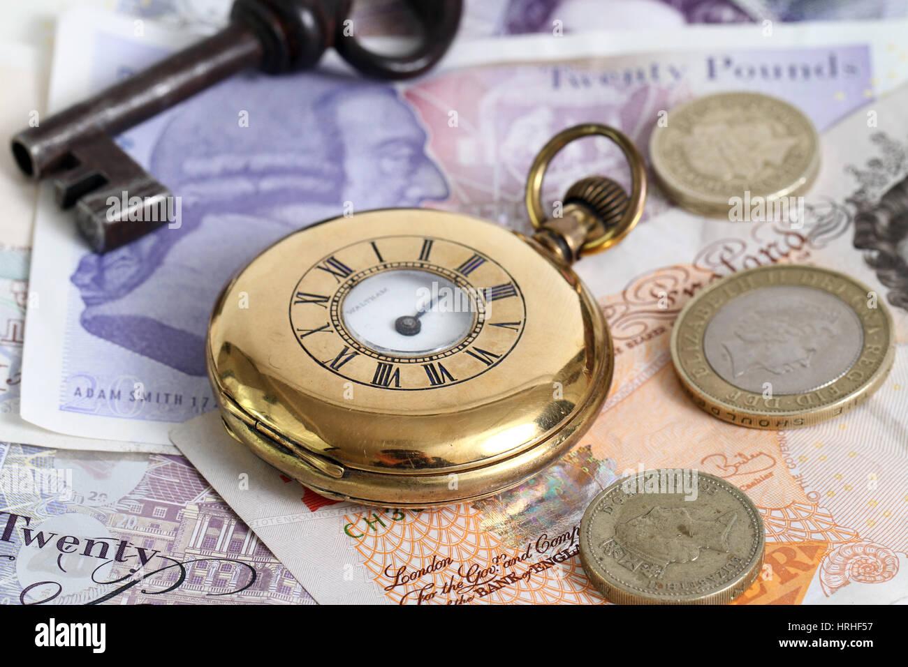 Montre de poche à clé, et de l'argent Photo Stock