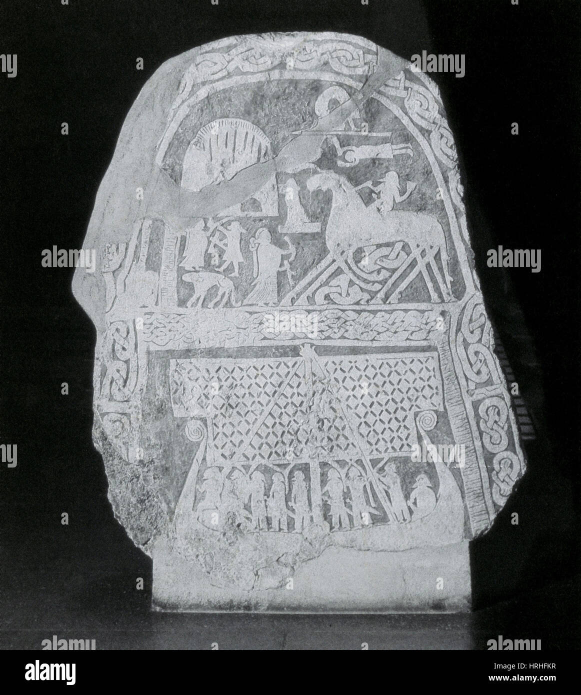 Stèle illustrant la mythologie nordique Photo Stock