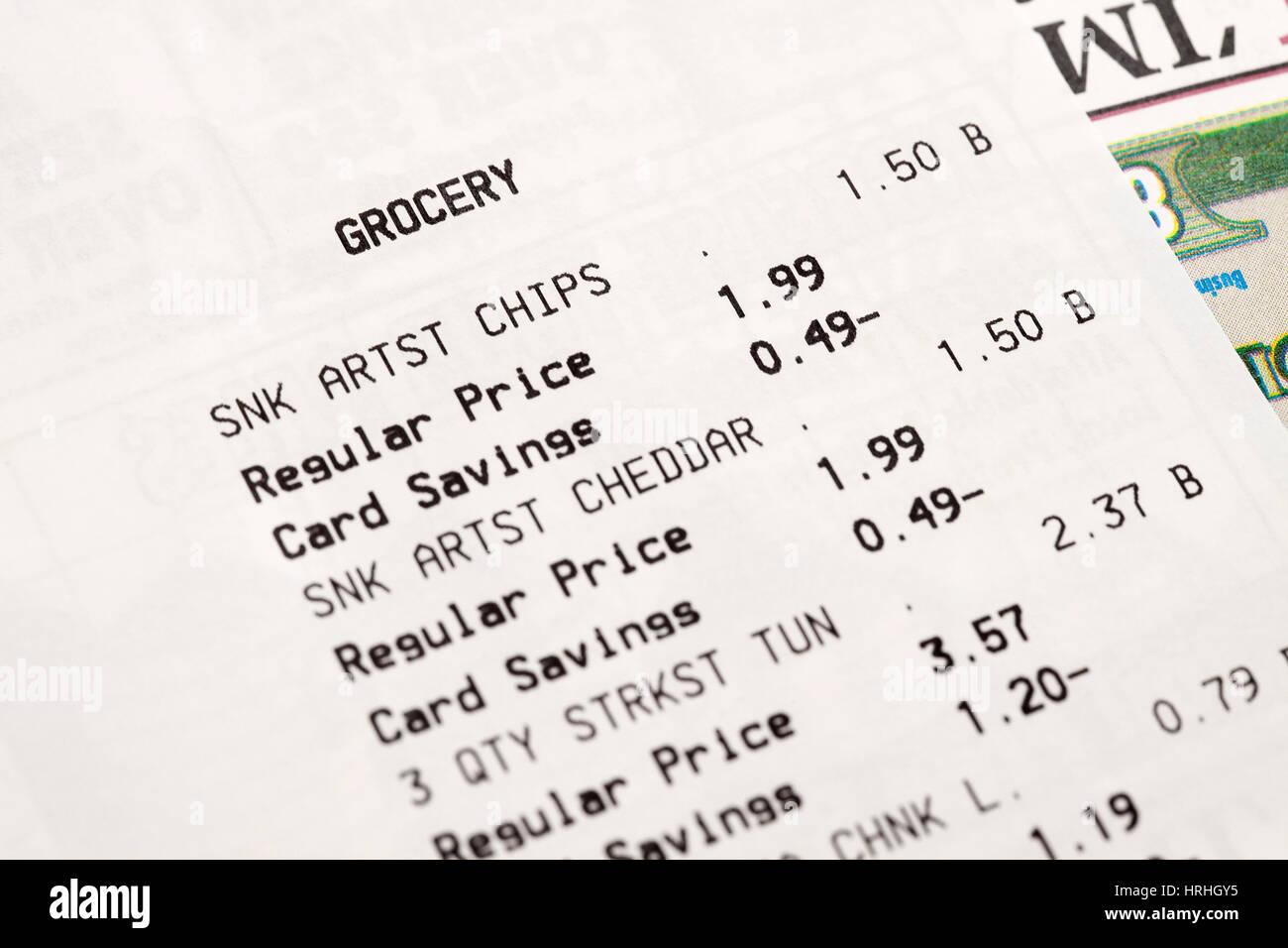Les reçus d'épicerie - USA Photo Stock