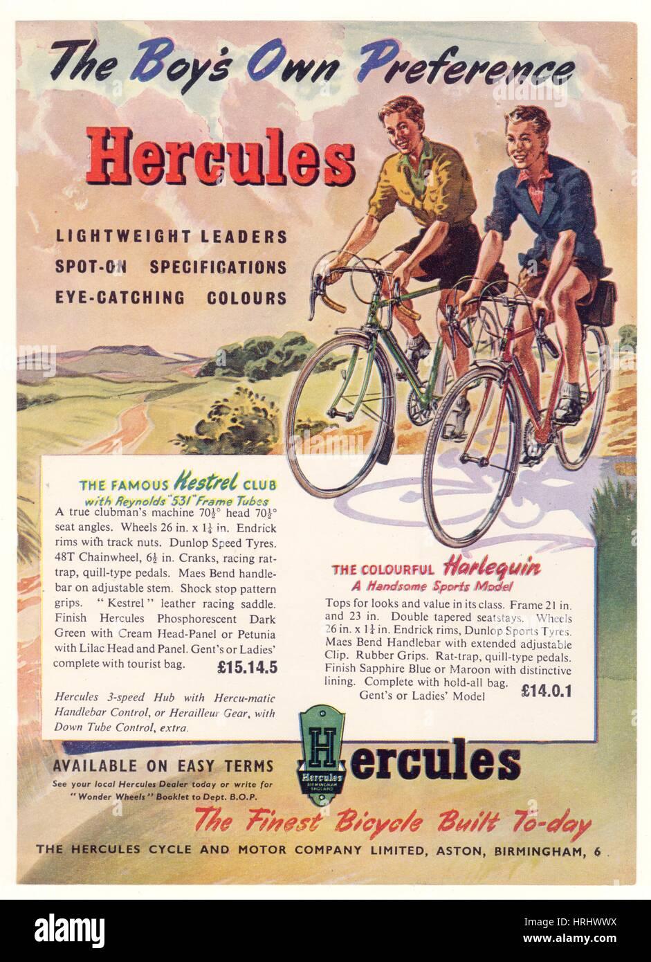 Publicité notice pour cycles Hercules années 1950, U.K. Photo Stock