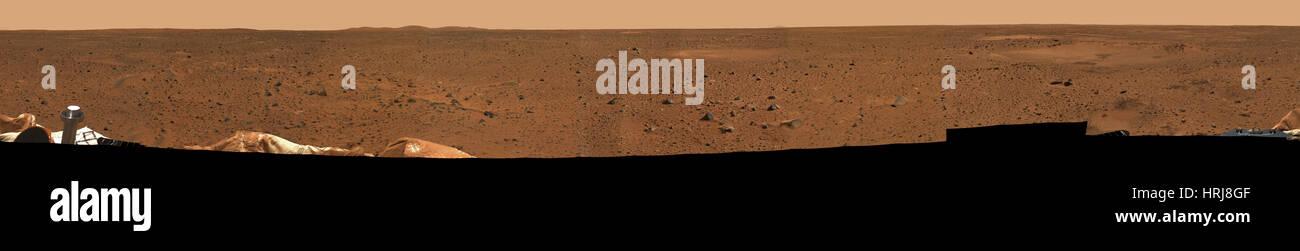 La mission Mars Exploration Rover Spirit, Rocky surface de Mars Photo Stock