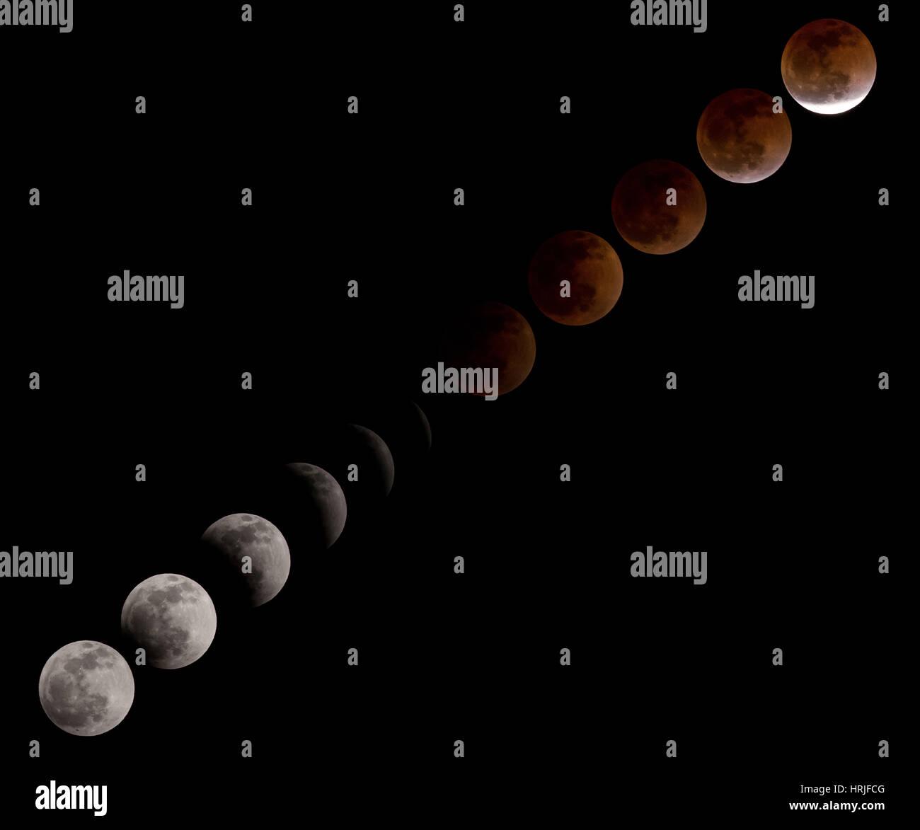 Éclipse de Lune 2014 Photo Stock