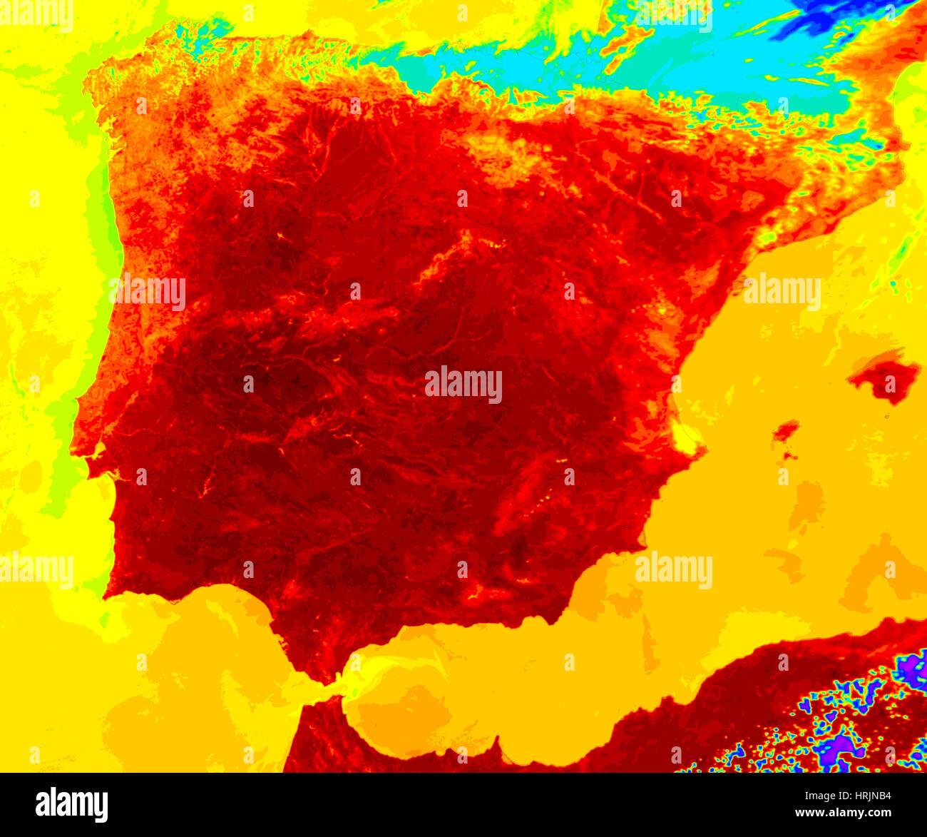 Canicule, image MODIS, 2005 Photo Stock
