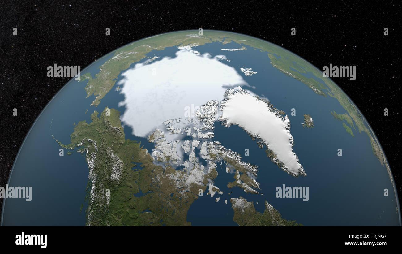 Au moins, la glace de mer arctique 1985 Photo Stock