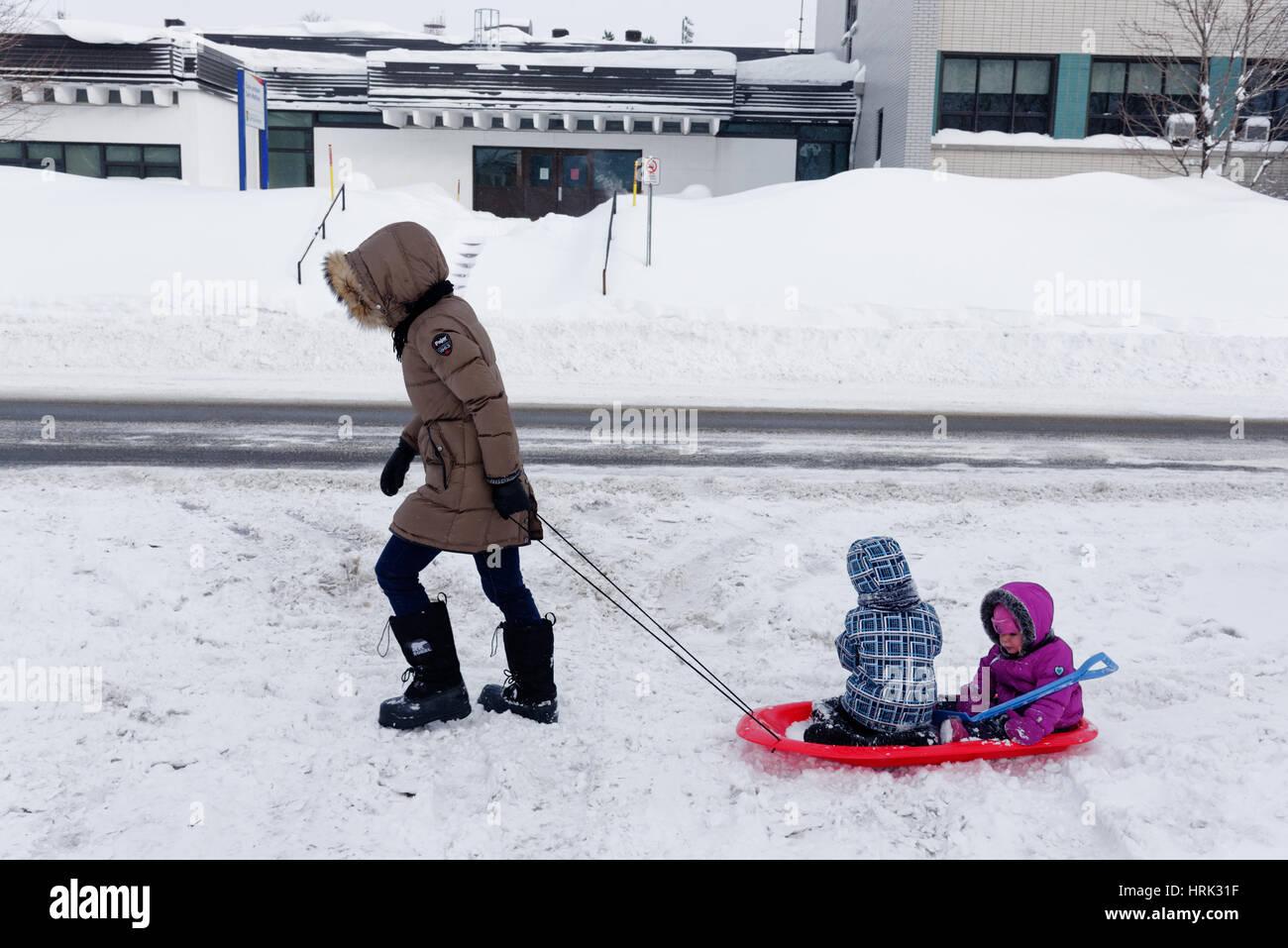 Une mère tirant ses deux enfants dans un traîneau à travers la neige fraîche au Québec Photo Stock