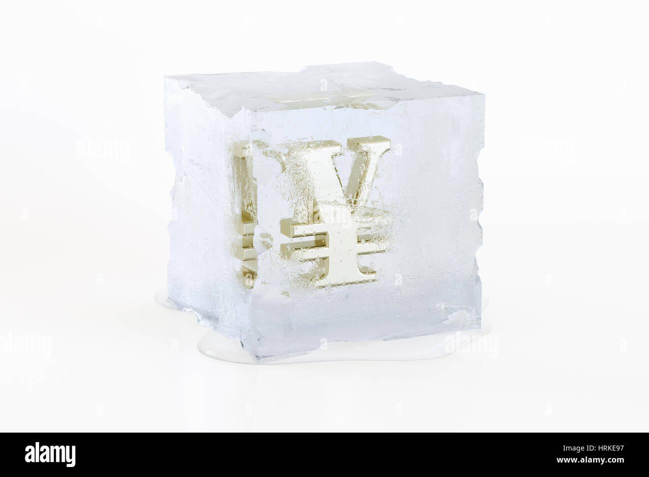 Symbole Golden Yen japonais congelé dans un cube de glace fond lentement Photo Stock