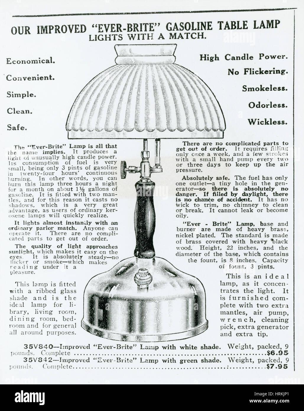 Annonce de lampe à gaz Photo Stock