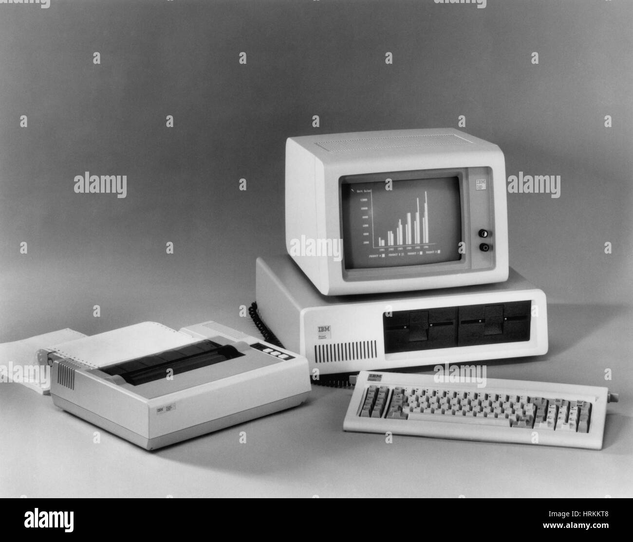 Au début des années 80, l'ordinateur personnel Photo Stock