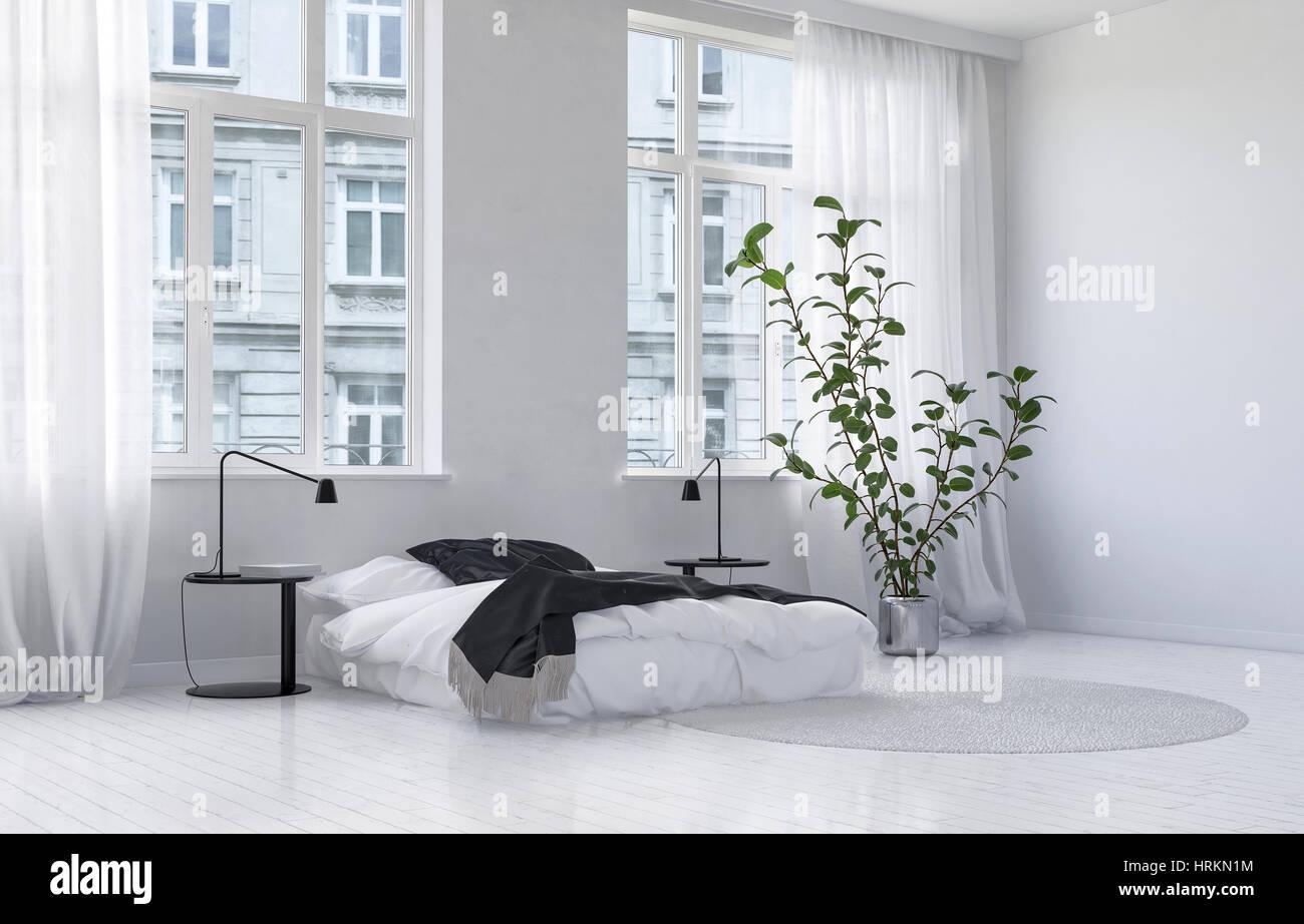 Monochromatique moderne chambre blanche intérieur avec de grandes ...