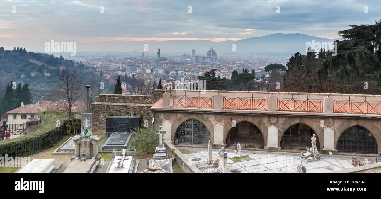 D'une colline vue de Florence, Italie. Photo Stock
