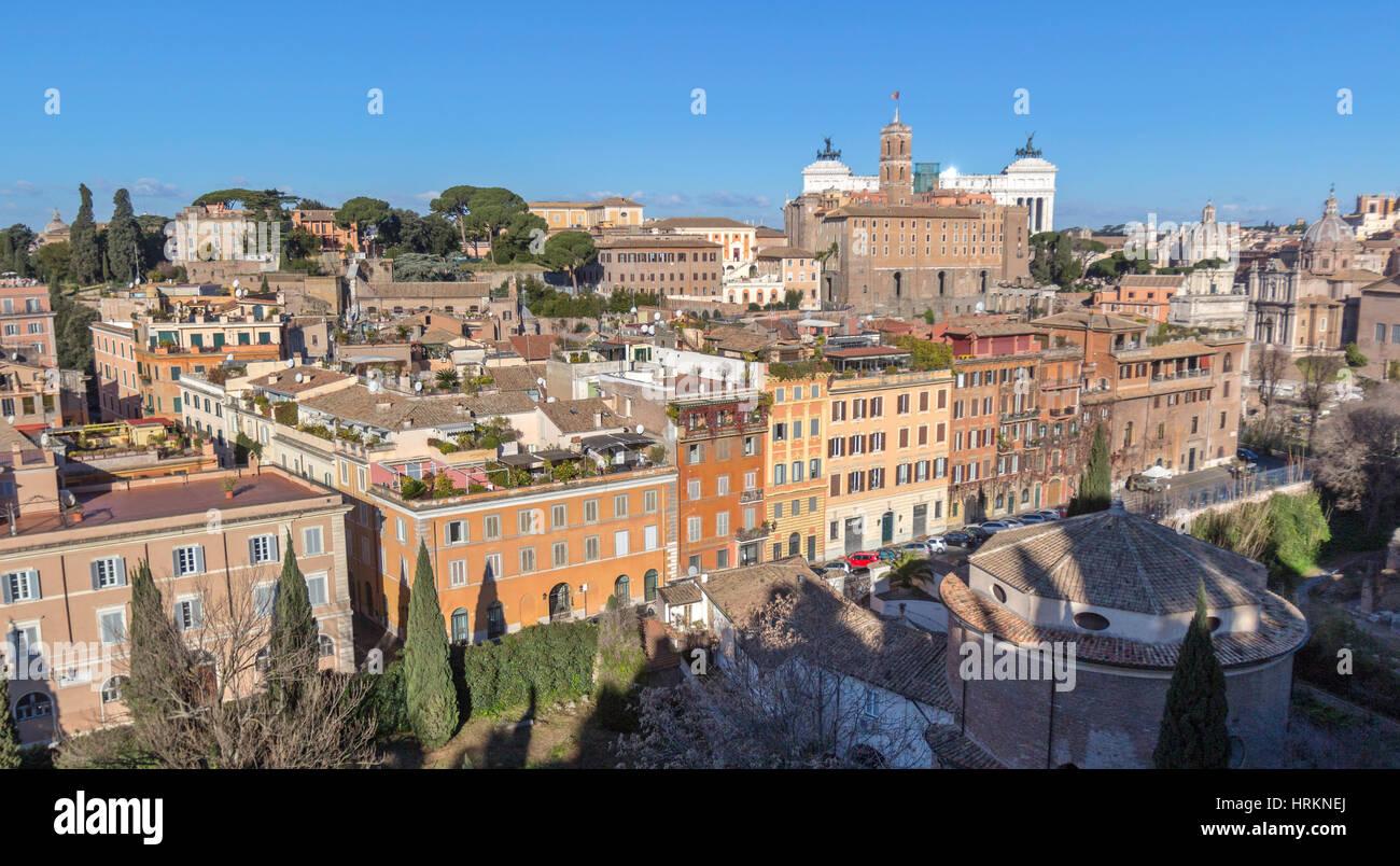 Une vue aérienne de Rome, Italie. Photo Stock