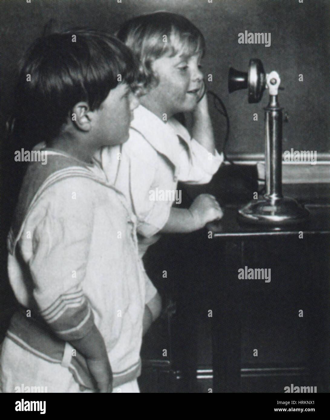 Téléphone au début Photo Stock