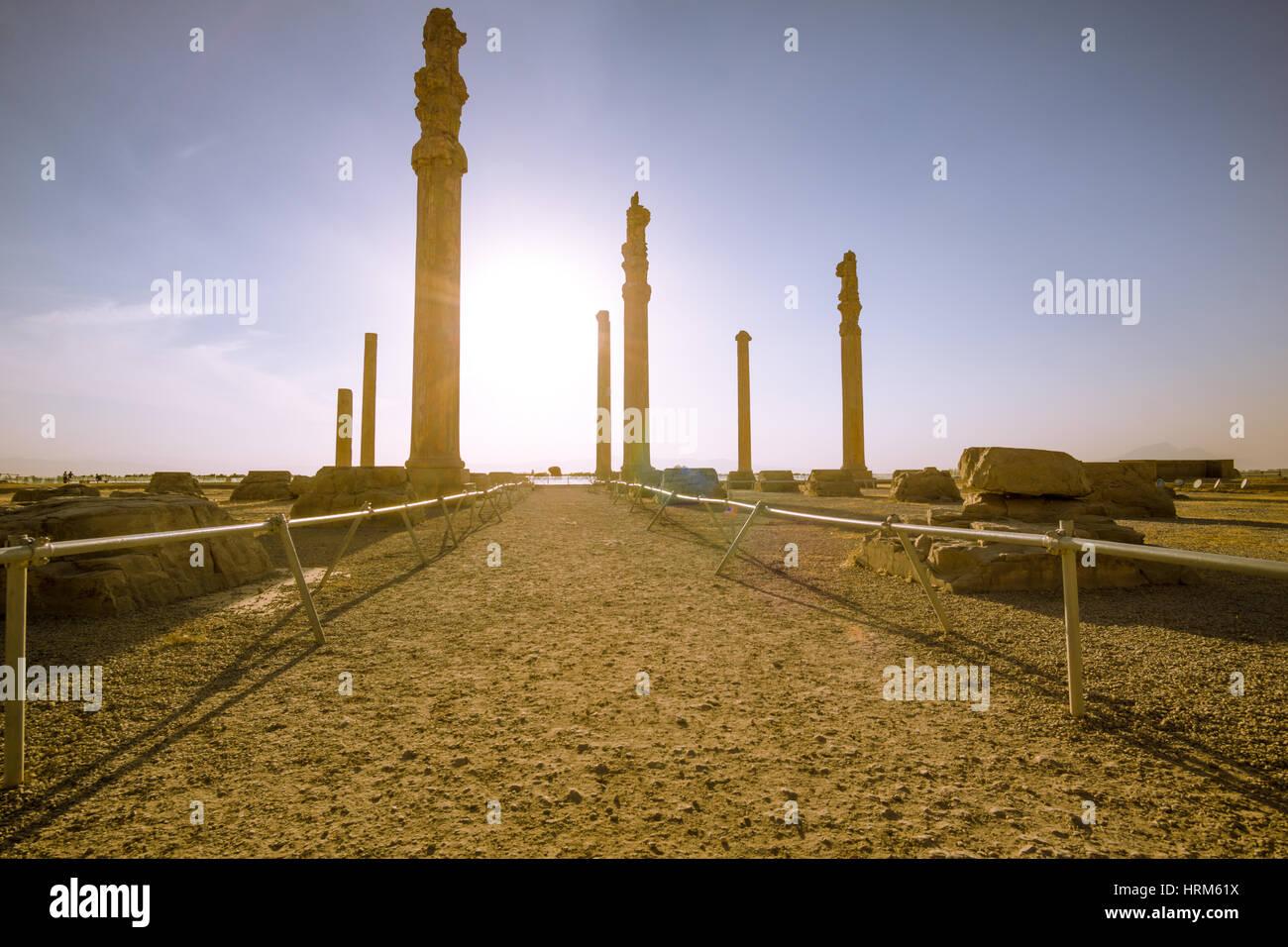 Vue sur les ruines de Persépolis en Iran Photo Stock